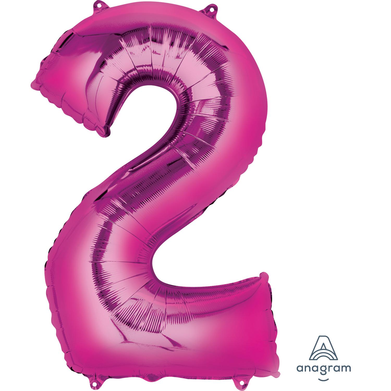 "Number 2 Pink SuperShape Foil Balloons 21""/53cm W X 35"