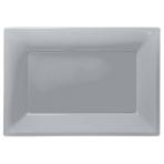 Silver Plastic Serving Platters - 6 PKG/3