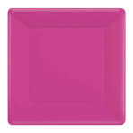 Bright Pink Square Paper Plates 25cm - 6 PKG/20