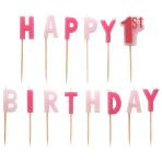 1st Birthday Girl Pink Pick Candles - 6 PKG/14