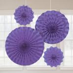 Purple Glitter Paper Fans - 6 PKG/4