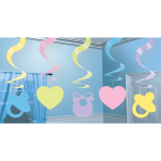 Baby Shower Hanging Swirl Decorations 61cm - 6 PKG/5