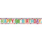 Multi Colour Happy 00th Birthday Holographic Foil Banners 2.7m - 12 PKG