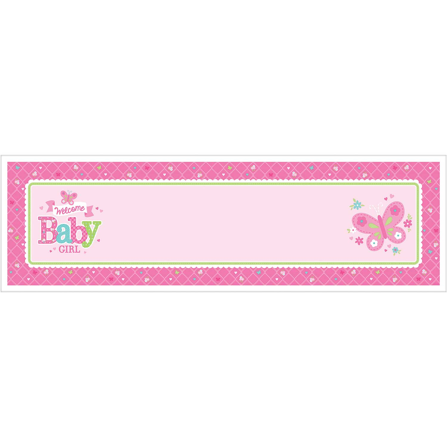 welcome baby girl personalise it giant sign banner 12 pkg
