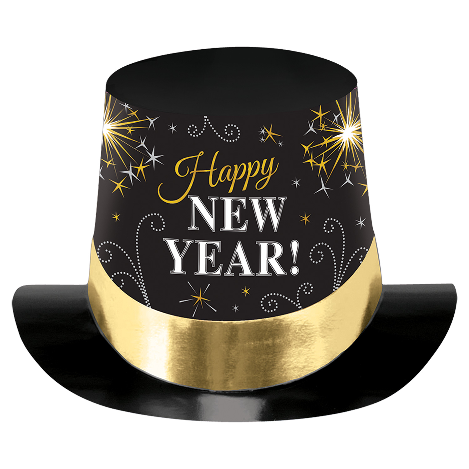 Happy New Year Black, Silver & Gold Printed Foil Top Hats ...