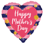 Navy & Pink Mother's Day Standard Foil Balloons S40 - 5 PC