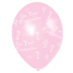Communion Printed Pink Latex Balloons 27.5cm - 10 PKG/6
