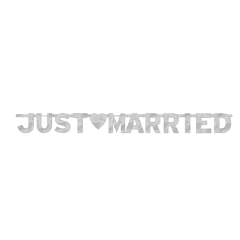 Just Married Foil Letter Banners 1.6m x 15.8cm - 12 PC