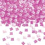 Number 21 Pink Shimmer Metallic Confetti 14g - 12 PC