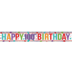 Multi Colour Happy 100th Birthday Holographic Foil Banners 2.7m - 12 PC