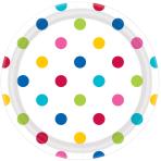 Rainbow Dots Paper Plates 18cm - 12 PKG/8