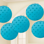 Caribbean Blue Hot Stamped Paper Lanterns 12cm - 6 PKG/5