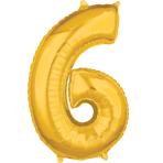 """Number 6 Gold SuperShape Mid-Size Foil Balloons 17""""/43cm w x 26""""/66cm h P31 - 5 PC"""