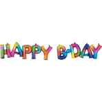 """Happy Bday"" Rainbow Splash Block Phrase Foil Balloons G40 - 5 PC"