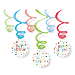Confetti Birthday Swirl Decorations - 10 PKG/6
