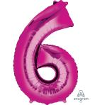 "Number 6 Pink SuperShape Foil Balloons 23""/58cm w x 35""/88cm h P50 - 5 PC"