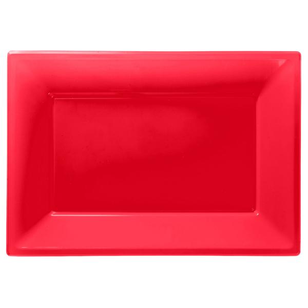 Apple Red Plastic Serving Platters - 6 PKG/3 : Amscan International