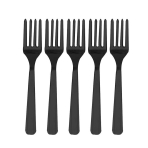 Jet Black Heavy Weight Plastic Forks - 12 PKG/48