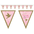 Pink First Holy Communion Pennant Banners 4m x 19cm - 6 PC