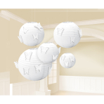 White Paper Lanterns with Butterfly Attachments - 6 PKG/5