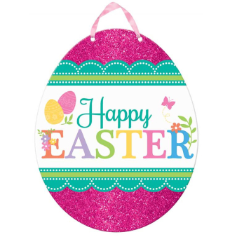 Happy Easter Glitter Pink Egg Cut-Outs - 24 PC