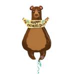 "Happy Father's Day Bear SuperShape Foil Balloons 20""/58cm x 35""/88cm P35 - 5 PC"
