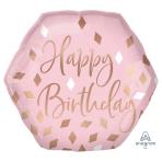 "Blush Birthday SuperShape Foil Balloons 23""/58cm w x 22""/55cm h P40 - 5 PC"