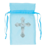 Blue Organza Bag with Crosses 8.8cm - 12 PKG/12