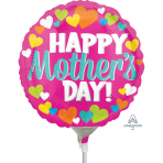 Happy Mother's Day Hearts Mini Foil Balloons A15 - 5PC