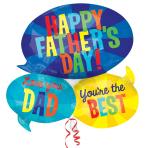 """Happy Father's Day Messages SuperShape Foil Balloons 26""""/66cm x 26""""/66cm P35 - 5 PKG"""