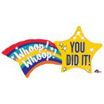 """Congrats Shooting Star SuperShape XL Foil Balloons 27""""/68cm w x 22""""/55cm h P35 - 5 PC"""