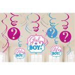 Girl or Boy Hanging Swirl Decorations 61cm - 9 PKG/12