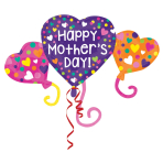 "Happy Mother's Day Heart Trio SuperShape XL Foil Balloons 38""/96cm/27""/68cm - 5 PC"