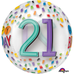 "Rainbow Happy 21st Birthday Clear Orbz Foil Balloons 15""/38cm w x 16""/40cm h G20 - 5 PC"