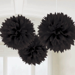 Black Fluffy Pom Pom Decorations 40cm - 6 PKG/3