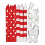 Red Dots & Stripes Candles - 12 PKG/12