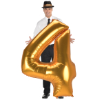 "Number 4 Gold Jumbo SuperShape Foil Balloons 36""/91cm w x 54""/137cm h L53 - 3 PC"