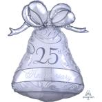 "25th Anniversary Silver Bell SuperShape Foil Balloons 22""/56cm w x 27""/69cm h P30 - 5 PC"