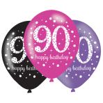 "Pink Sparkling Celebration 90th Birthday Latex Balloons 11""/27.5cm - 6PKG/6"