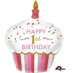 "1st Birthday Cupcake Girl SuperShape Foil Balloons 29""/73cm w x 36""/91cm h P40 - 5 PC"