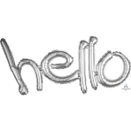 """Hello Freestyle Silver Phrase Balloons 33""""/83cm w x 18""""/45cm h G40 - 5 PC"""