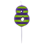 Dots & Stripes Birthday Candles Number 8 - 4.5cm - 12 PKG
