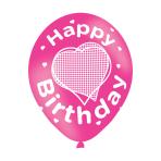 "Happy Birthday Pink Latex Balloons 11""/27.5cm - 10 PKG/6"