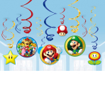 Super Mario Swirl Decorations - 6 PKG/12