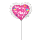 Happy Mother's Day Ruffle Heart Mini Shape Foil Balloons A30 - 5 PC