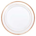 Rose Gold Trim Premium 26cm Plastic Plates - 6 PKG/10