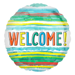 Welcome Watercolour Stripes Standard XL Foil Balloons S40 - 5 PC