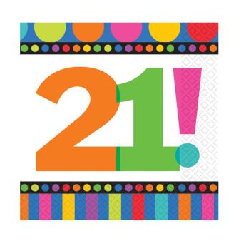 Dots & Stripes 21st Birthday Luncheon Napkins - 6 PKG/16