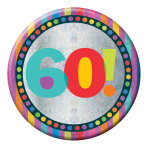 Happy 60th Birthday Badges Large 150mm Holographic- 6 PKG