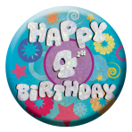 Happy 4th Birthday Badges Small 55mm Holographic - 12 PKG